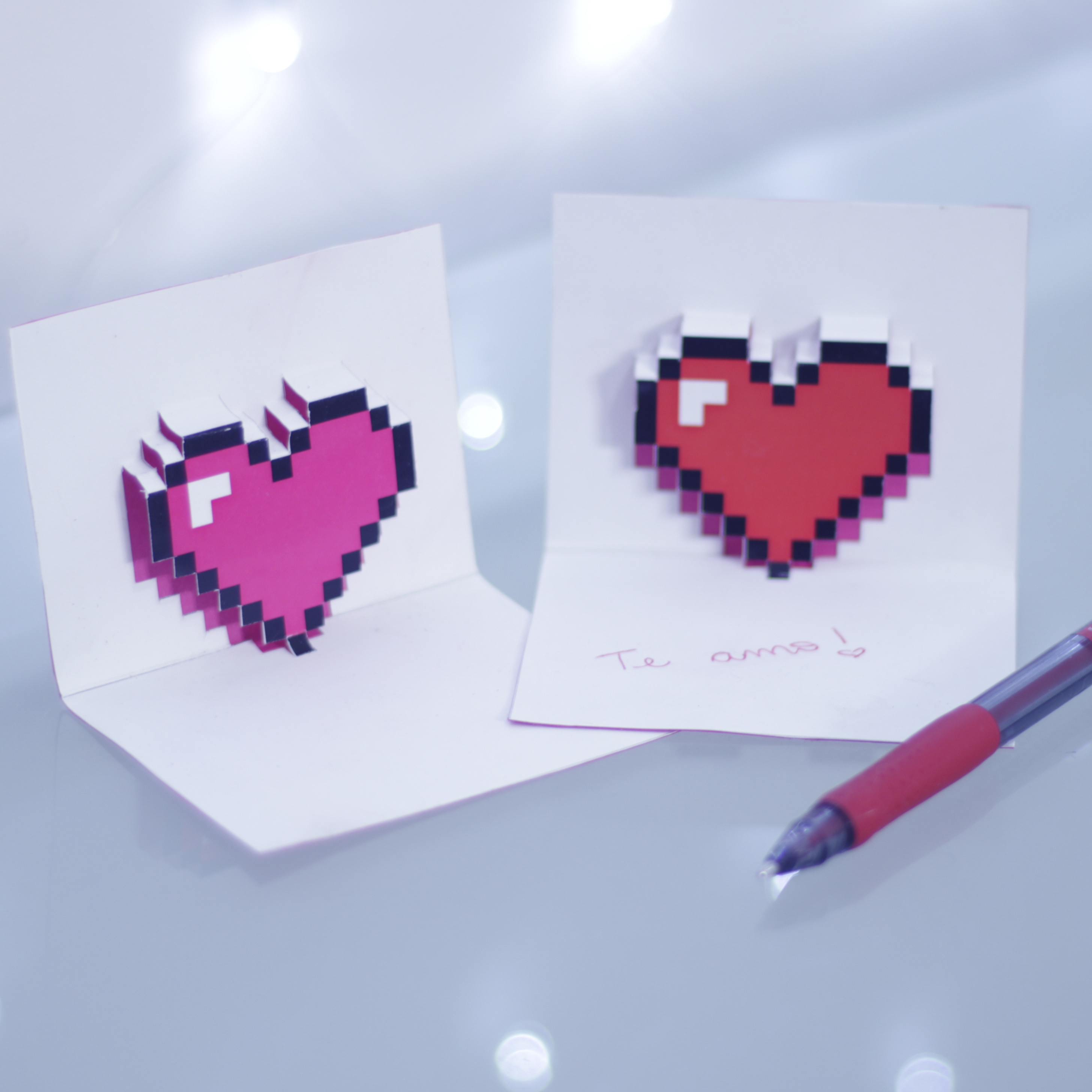 DIY Cartões 8 Bit – Coração, Space Invaders e Pac Man