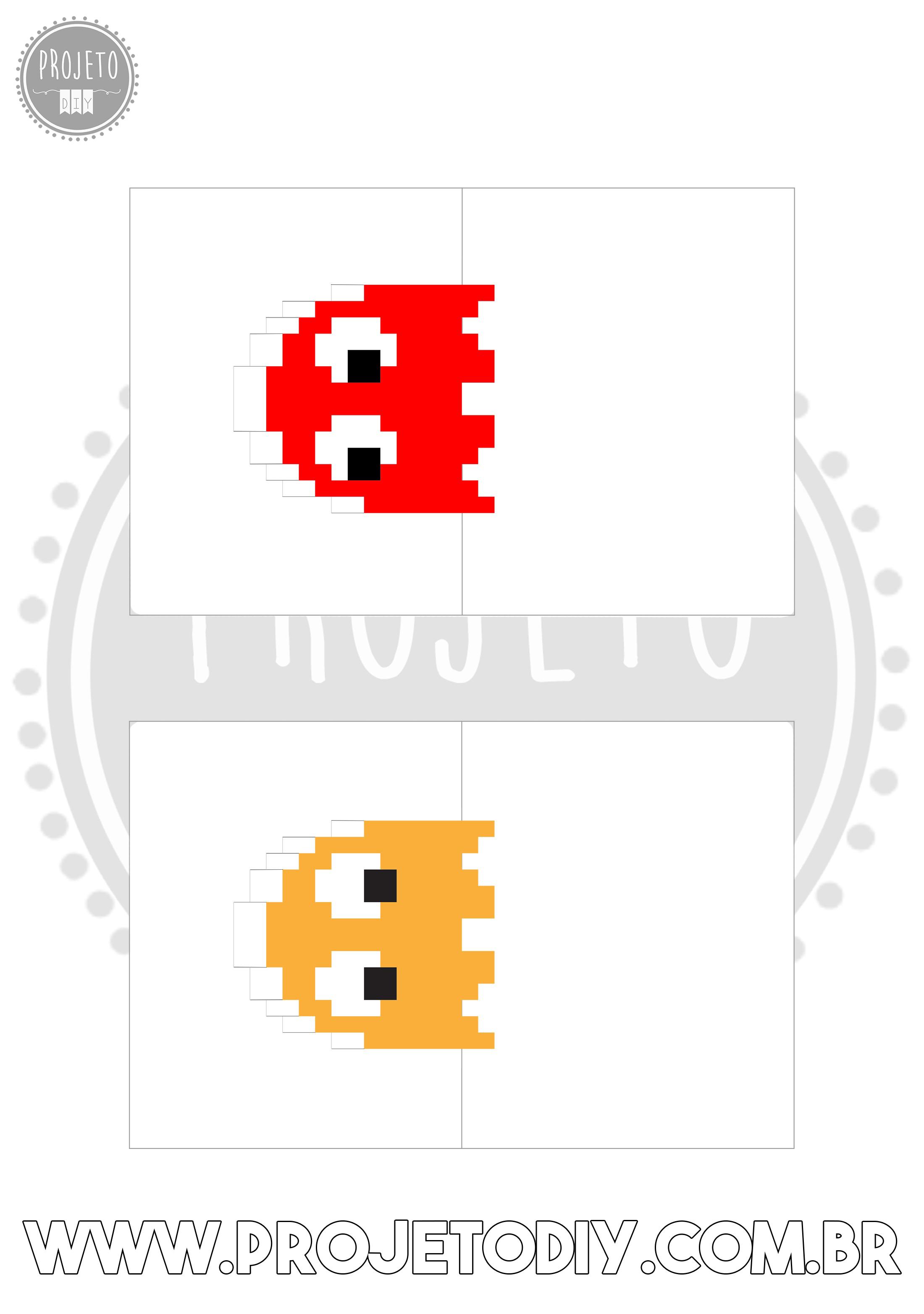 Molde do Cartão 3D Pop-Up do jogo Pac Man