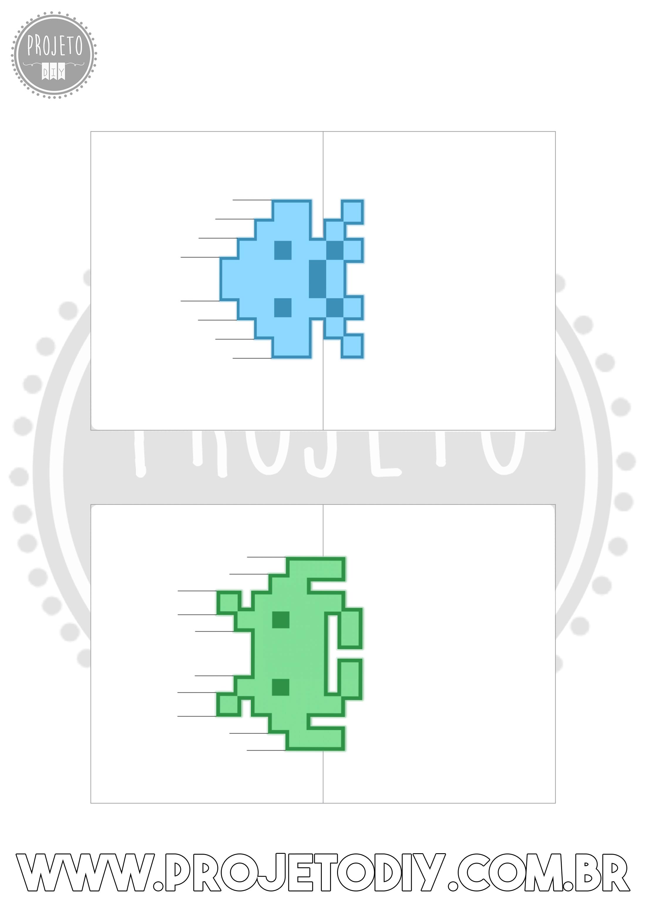 Molde do Cartão 3D Pop-Up do jogoSpace Invaders