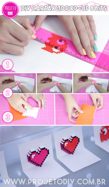 DIY Cartão 3D Pop-Up Coração Pac Man Pixel Art