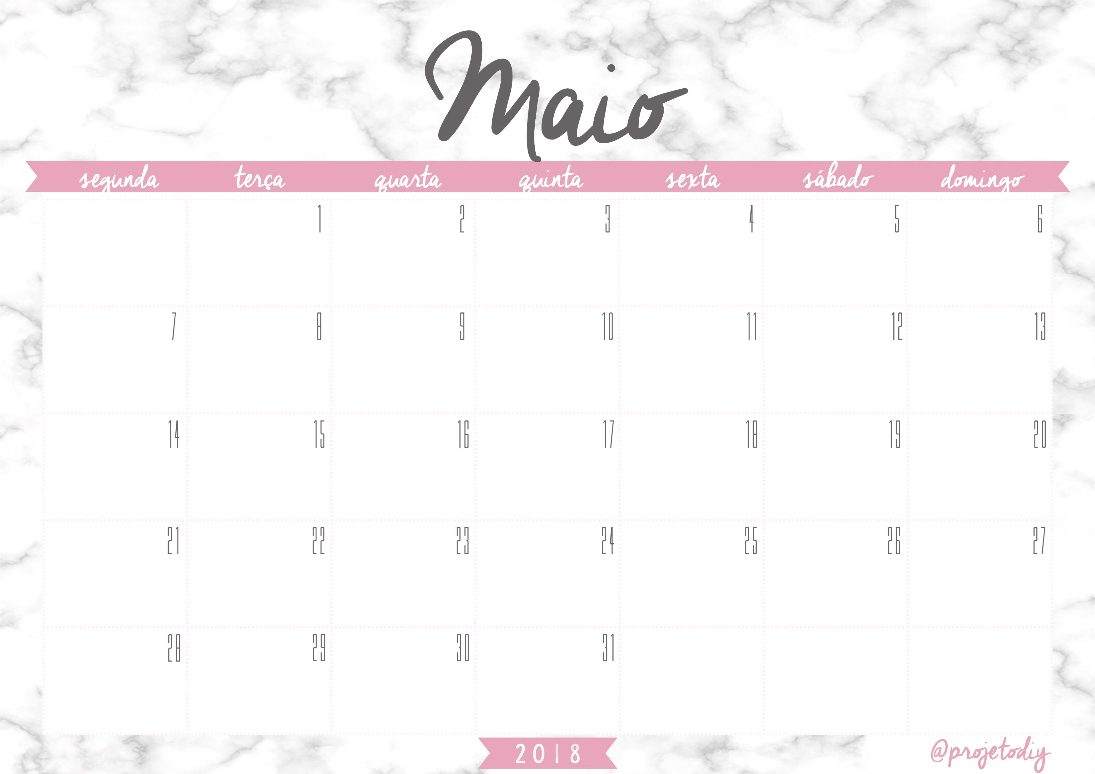 calendario 2018 maio